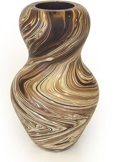 altezza: 20/cm Brown Design A Vaso da tavola in stile orientale//asiatico design a forma di bottiglia in legno di Ormosia