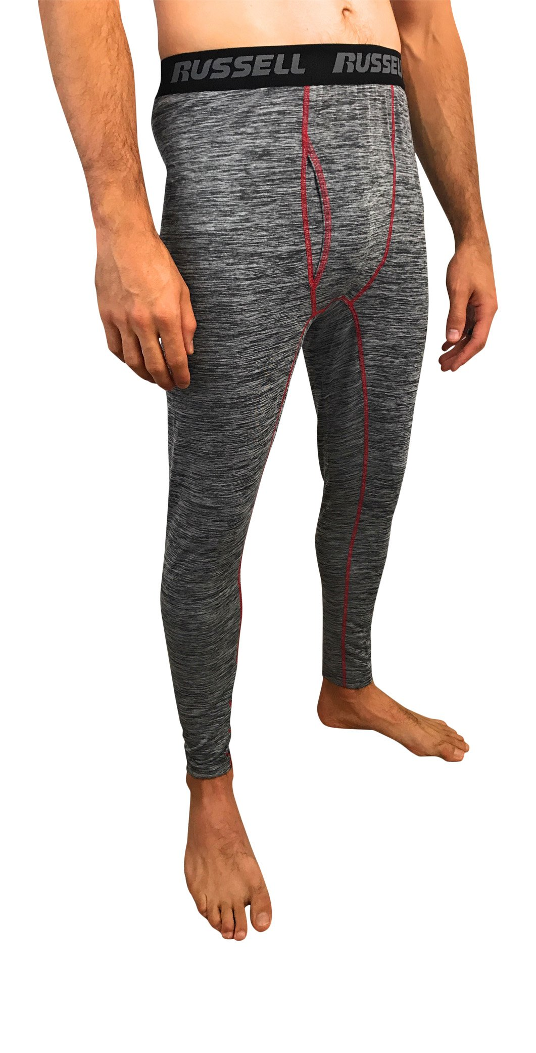 Russell Men's Performance Active Baselayer Thermal Pant / Bottom (Medium / 32-34, Grey / Red) by Russell Athletic