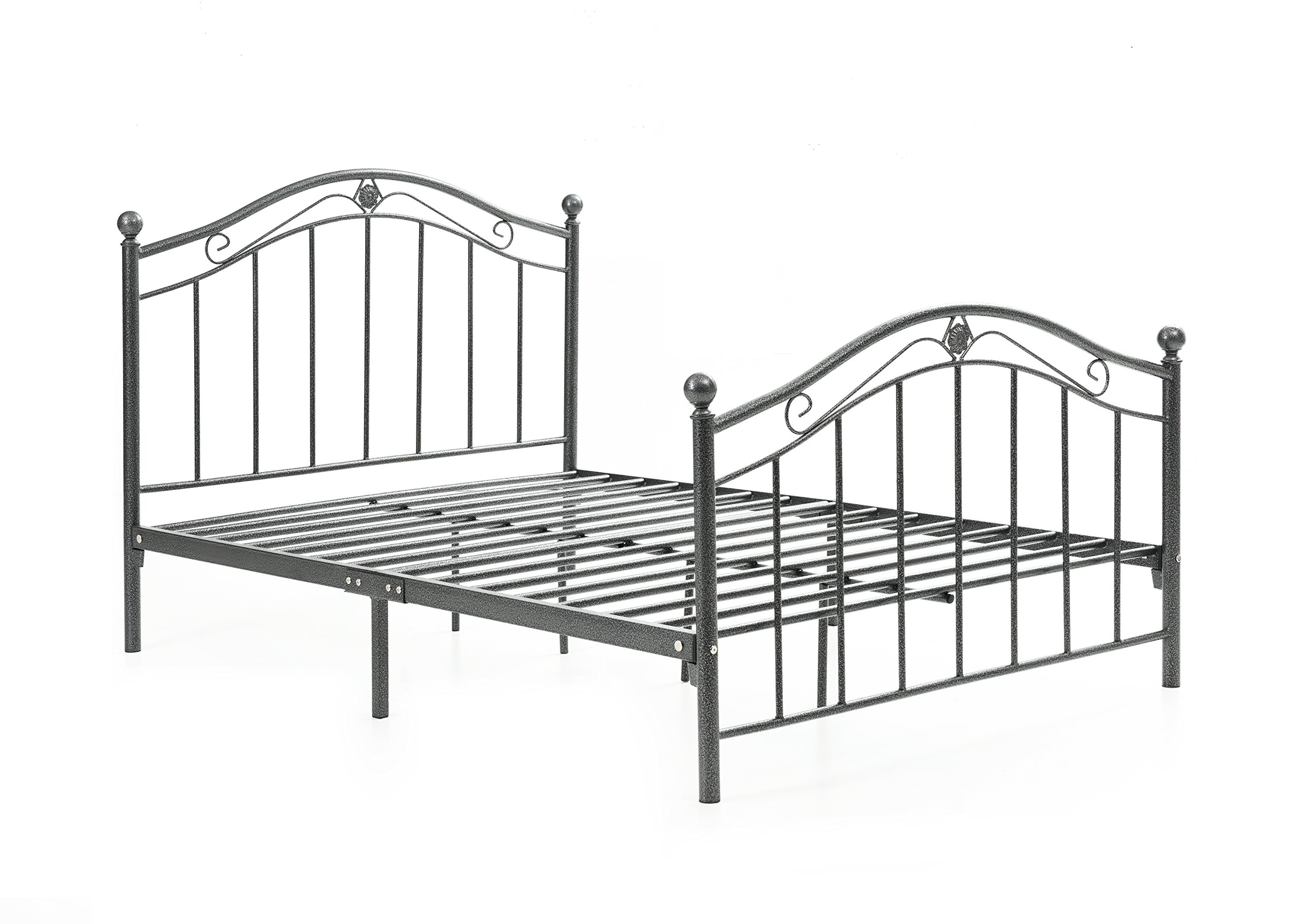 Hodedah Complete Metal Bed with Headboard, High Footboard, Slats and Rails, Twin Size, Charcoal