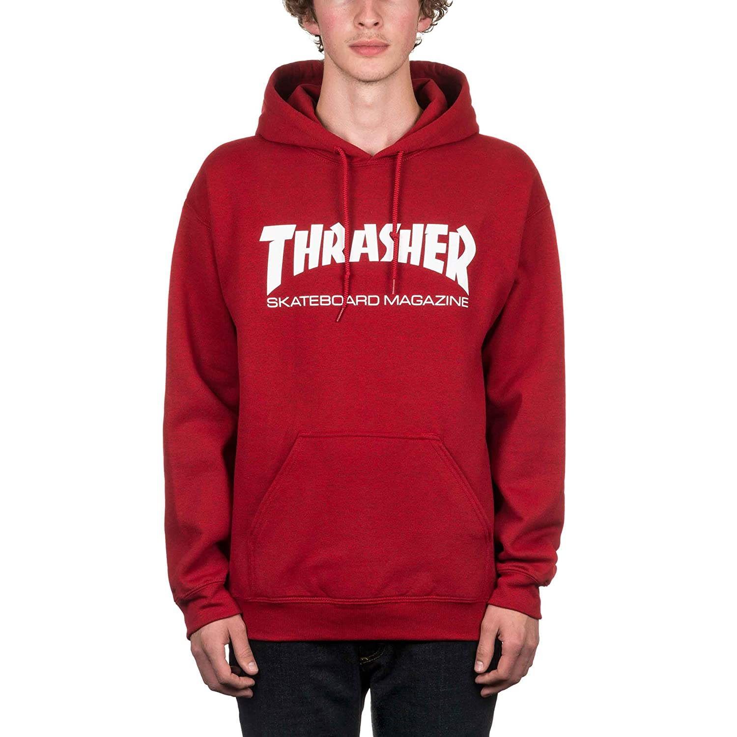 94f69c76c5e4 Thrasher Skate Mag Pullover Hood Antique Cherry Red Large  Amazon.co.uk   Clothing