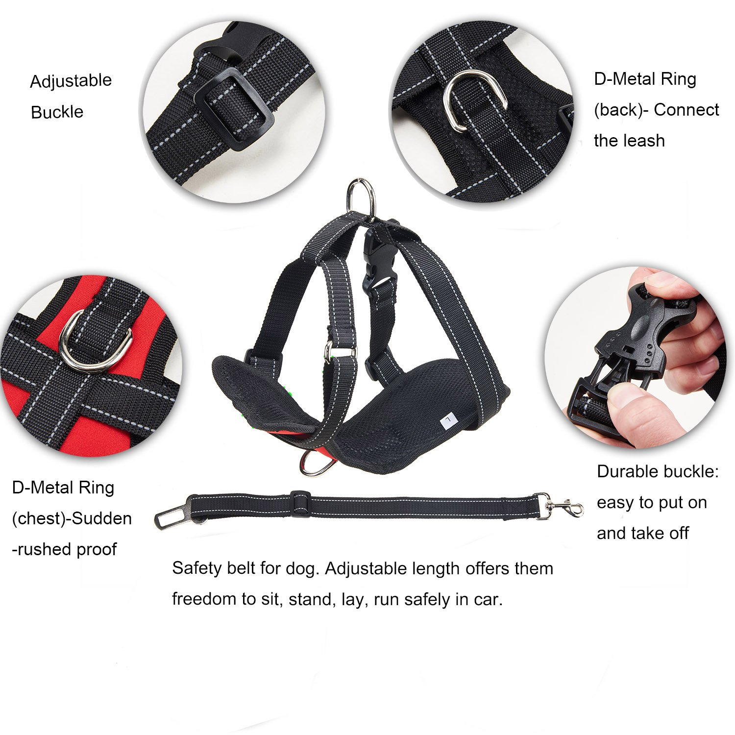 Durable Neoprene Fabric and Soft Padded Mesh for Vehicle Dog Walking Vest Harness Travel Outdoor Kaka mall Pet Dog Car Safety Harness Black, L, 15-25 KG Dogs Adjustable Seat Belt Strap Lead Clip