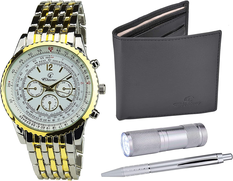 Bellos - Caja de regalo con reloj de pulsera para hombre color dorado, navaja suiza con linterna, cartera y bolígrafo