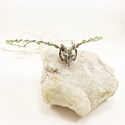 Silver Wolf Circlet Tiara with Wolf head and Beads, Woodland fairy Crown, Wolf Circlet