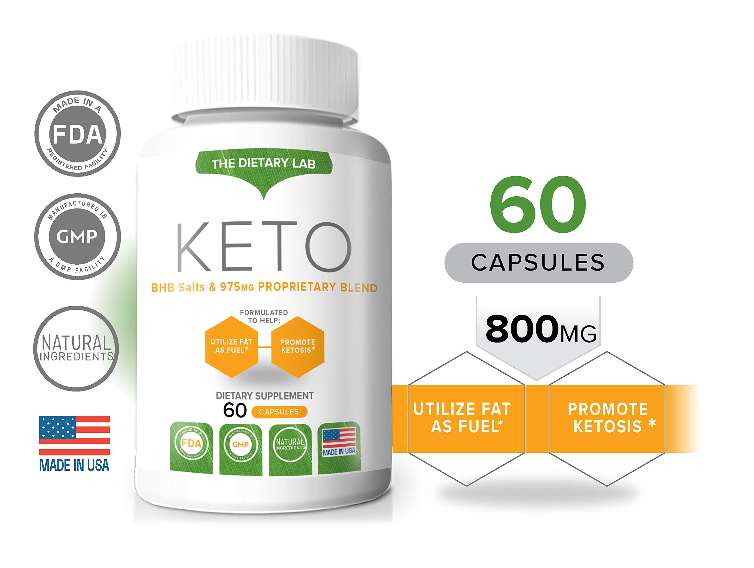 The Dietary Lab Keto, GoBHB & 800 MG Proprietary Blend, Burn Fat for Energy, Promotes Ketosis