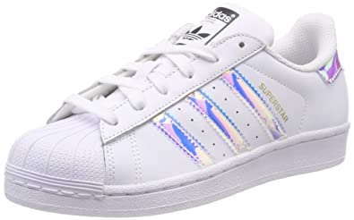 146883d277 Adidas Superstar J, Chaussures de Basketball Mixte Enfant, Multicolore FTWR  White/Metallic Silver
