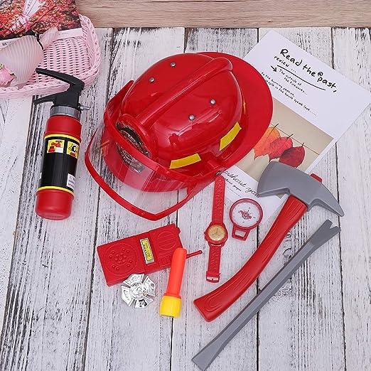 Toyvian 9pcs Pompiere Vigile del Fuoco Pompiere Costume Gioco di Ruolo Set per  Bambini con Casco e Accessori  Amazon.it  Giochi e giocattoli 9c21b50bfdcc