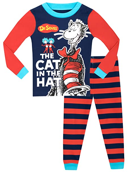 e2b390c47 Dr. Seuss Boys The Cat in The Hat Pyjamas - Snuggle Fit - Ages 2 to 8  Years: Amazon.co.uk: Clothing