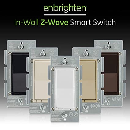 GE, White & Light Almond, Enbrighten Z-Wave Plus Smart Light Switch, on