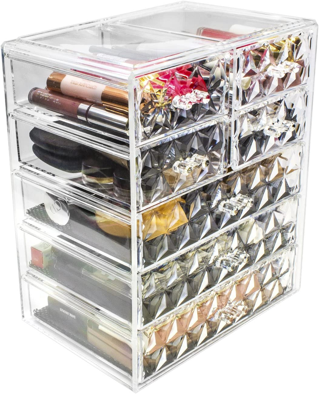 Sorbus Acrylic Cosmetic Makeup and Jewelry Storage Case Display - Spacious Design - Great for Bathroom, Dresser, Vanity and Countertop, Diamond Pattern (3 Large/4 Small Drawers)