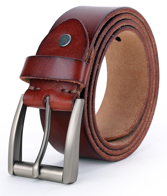 Tonly Monders Vintage Genuine Leather Belt For Men Black/Brown/Coffee, 1 1/2 Inch Width