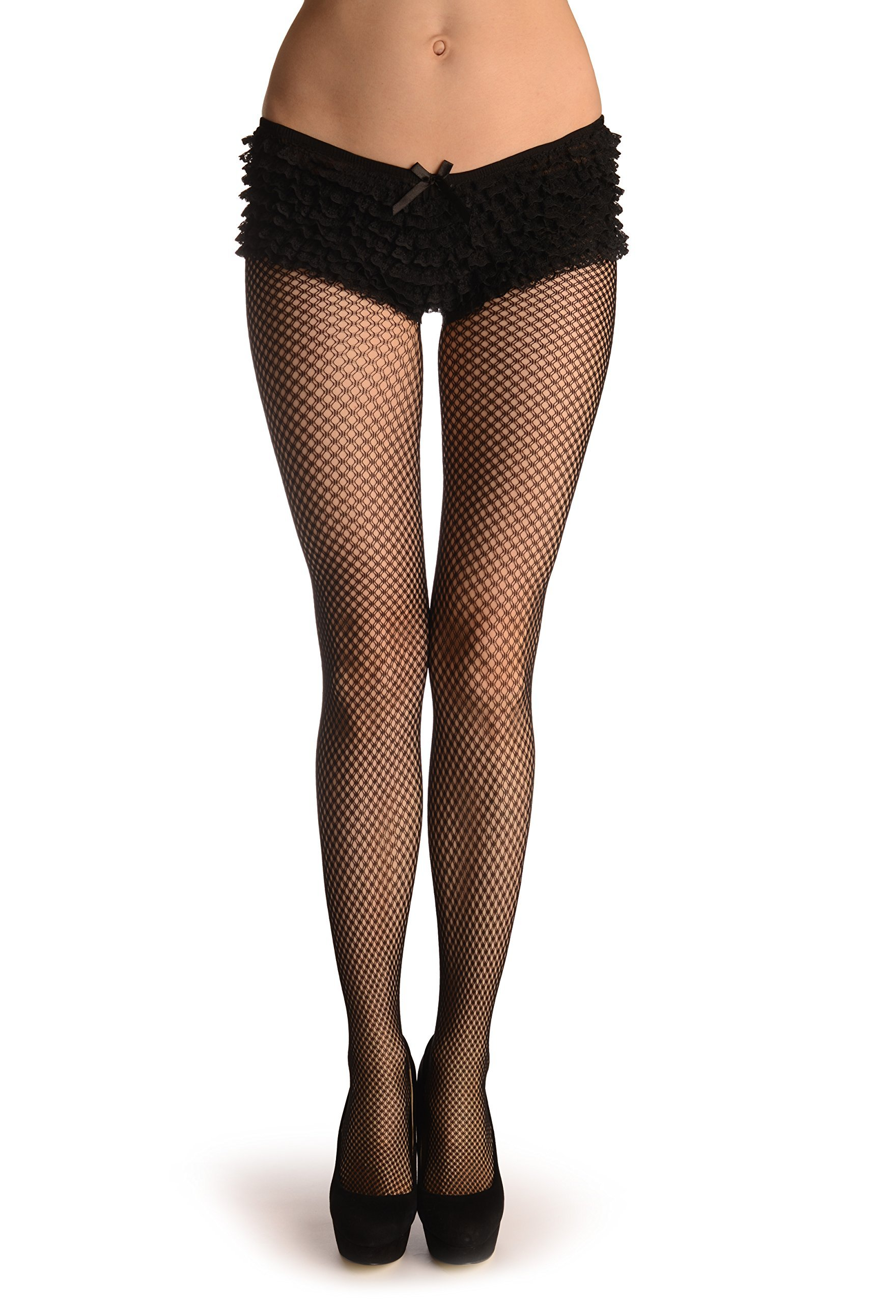 Black Double Mesh Fine Fishnet - Pantyhose (Tights)