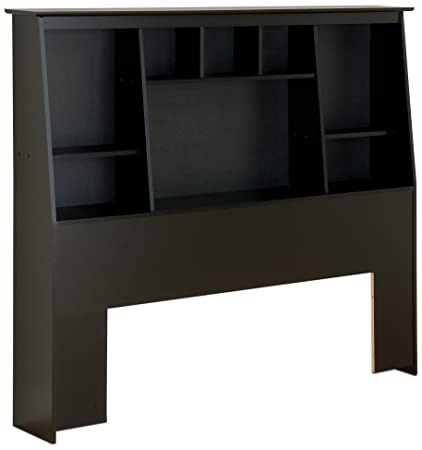 Black Full Queen Tall Slant Back Bookcase Headboard