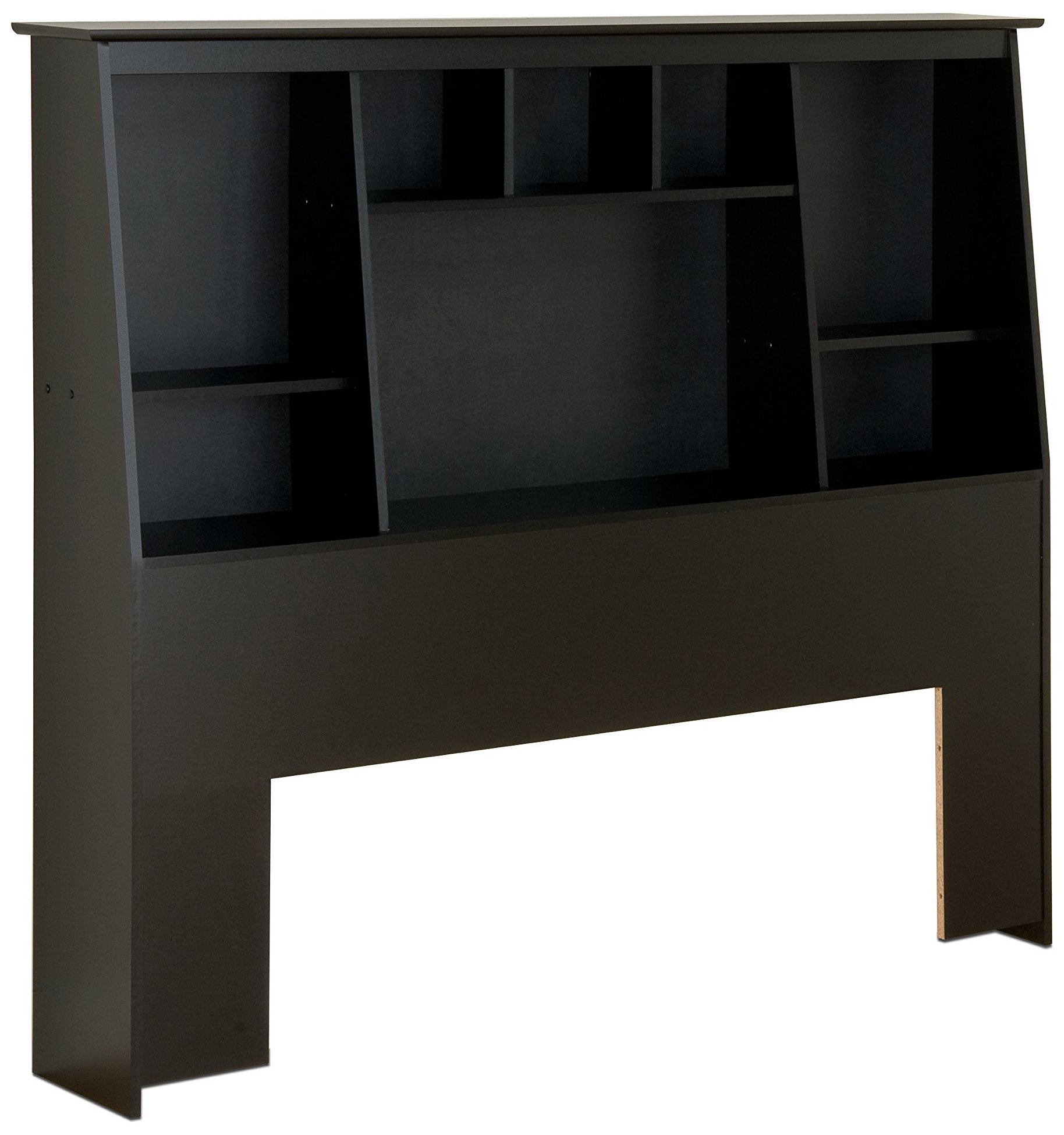 Prepac BSH-6656 Tall Slant-Back Bookcase Headboard, Black, Full/Queen
