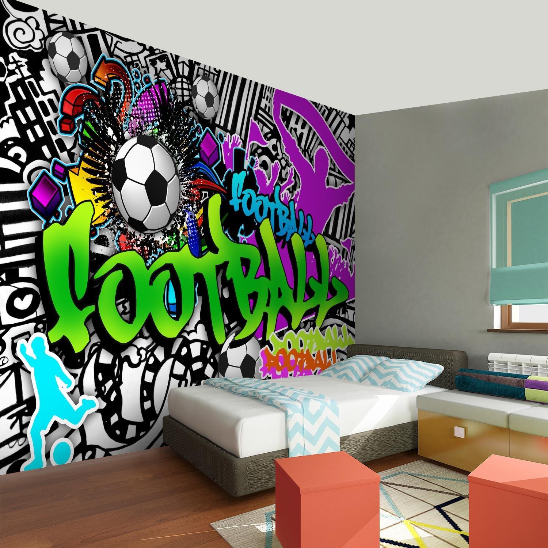 100/% FABRIQU/É EN ALLEMAGNE 9137010a Tapisserie Photo Football graffiti 308 x 220 cm Laine papier peint Salon Chambre Bureau Couloir d/écoration Peinture murale d/écor mural moderne