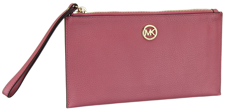 c65867a309ef Michael Kors Womens Fulton Leather Pebble Grain Zip Clutch Wristlet - Tulip  (Large): Handbags: Amazon.com