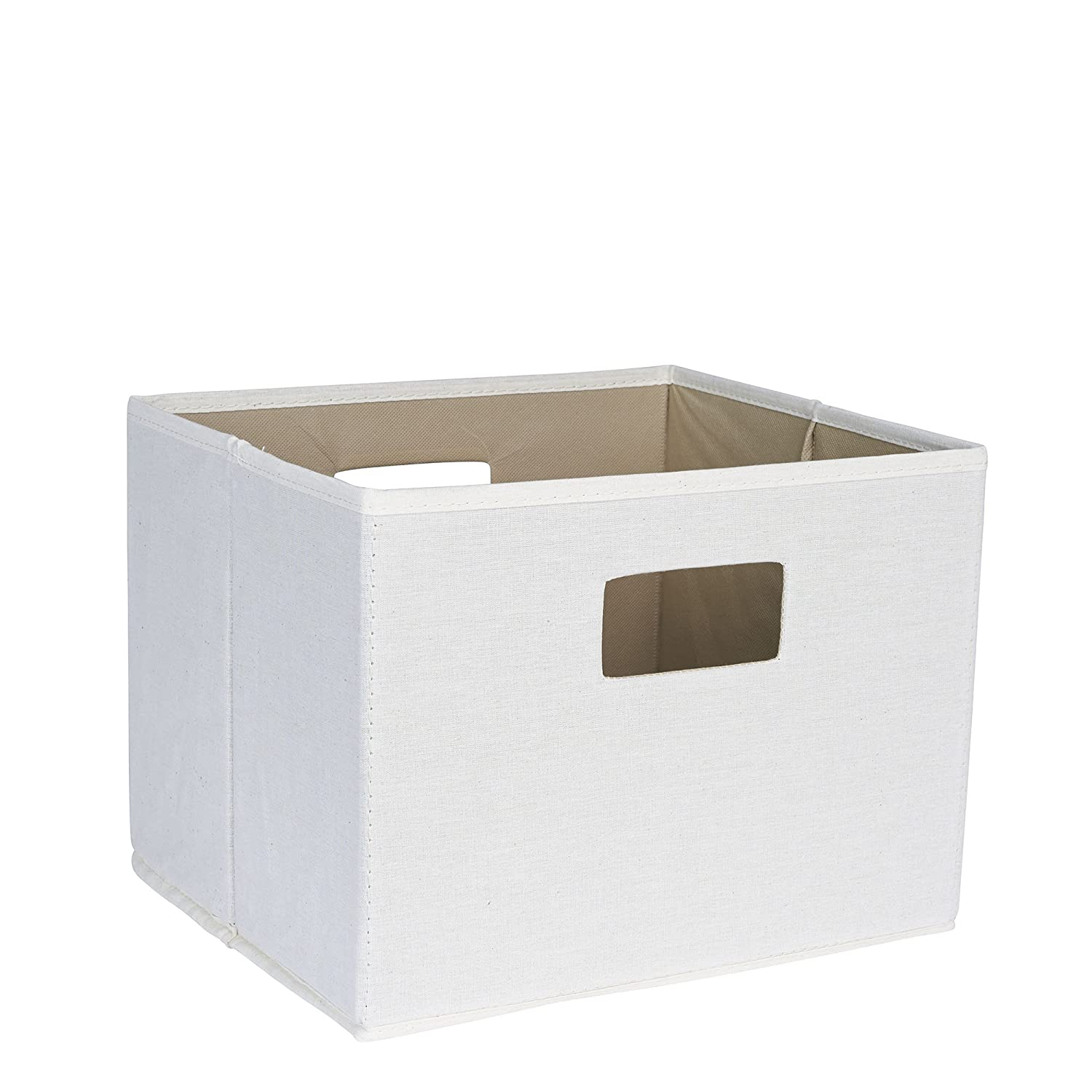 Household Essentials 119-3 Open Storage Bin with Handles | Beige Canvas | Pack of 3, 3 Pack