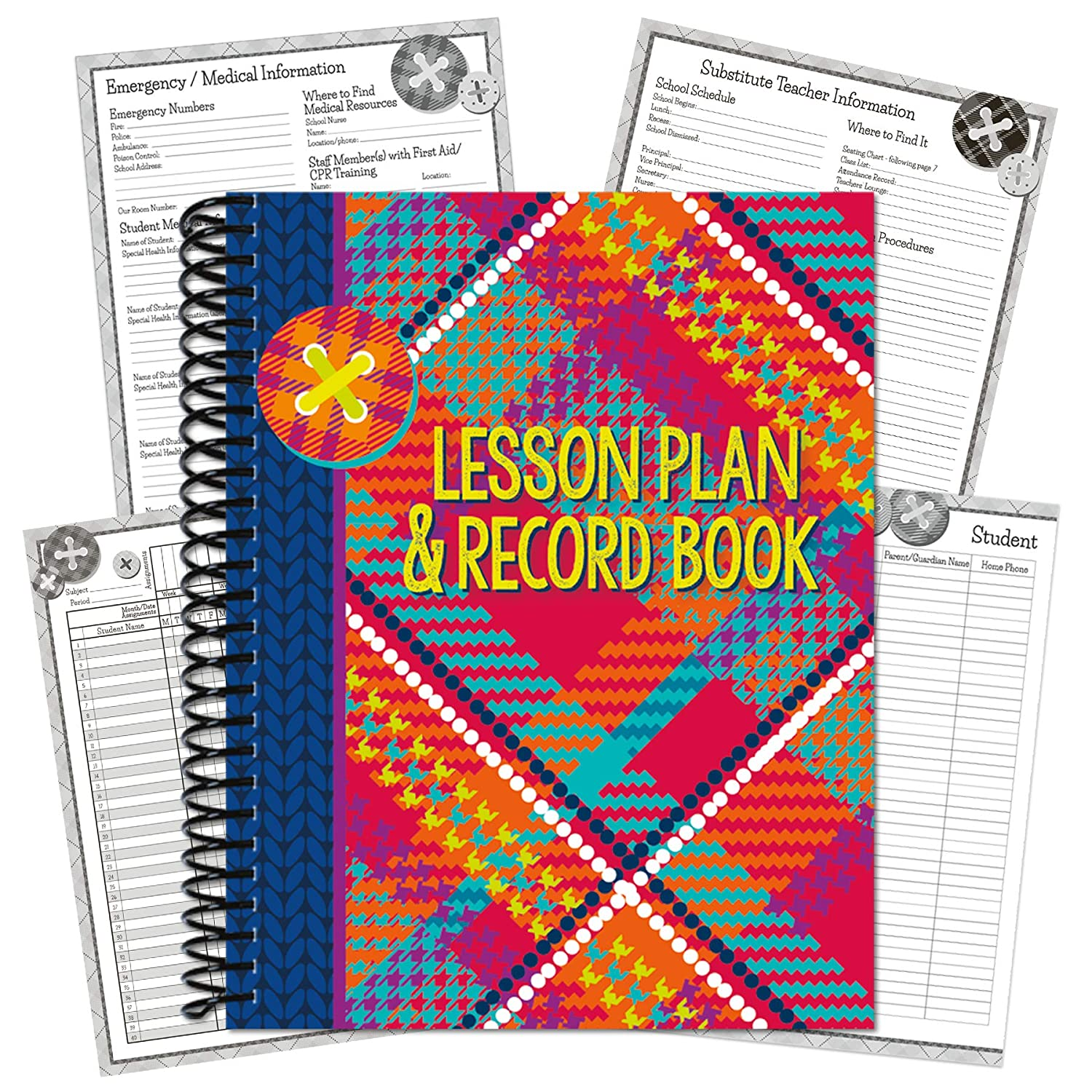 Eureka Multicolor Plaid Record and Lesson Plan Book for Teachers, 160 Pages, 8.5'' x 11