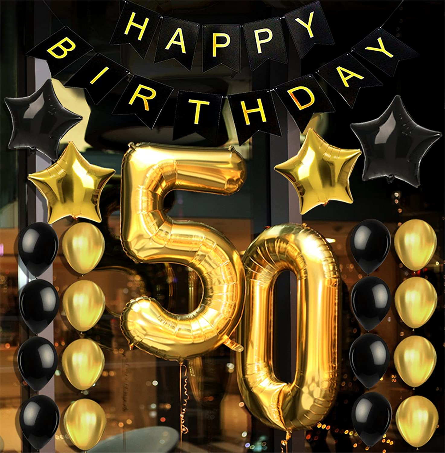 Amazon.com: 50th BIRTHDAY DECORATIONS & PARTY SUPPLIES - Party  Favors/Accessories Great For Men and Women's 50th Birthday Party &  Anniversary - Includes a 50th Birthday Decor Banner & 22 Gold-Black  Balloons Pack:
