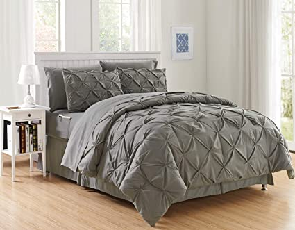 Luxury Best Softest Coziest 6 Piece Bed In A Bag Comforter Set On Amazon Elegant Comfort Silky Soft Complete Set Includes Bed Sheet Set With Double Sided Storage Pockets Twin Twin Xl Gray Amazon Co Uk Kitchen