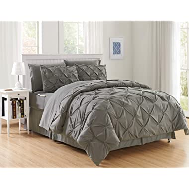 Elegant Comfort Luxury Best, Softest, Coziest 8-Piece Bed-in-a-Bag Comforter Set on Amazon Silky Soft Complete Set Includes Bed Sheet Set with Double Sided Storage Pockets, Full/Queen, Gray