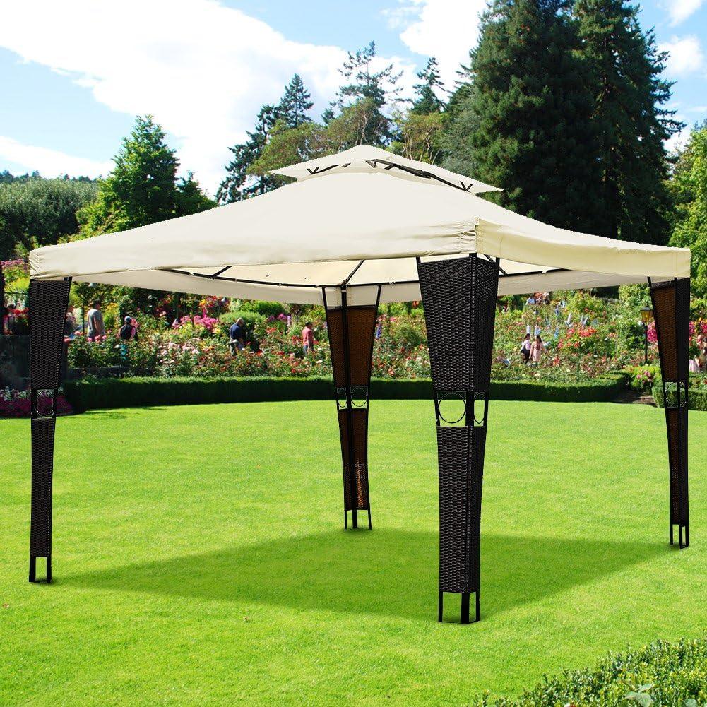 Bakaji cenador de jardín 3 x 3 mt estructura de acero inoxidable ...