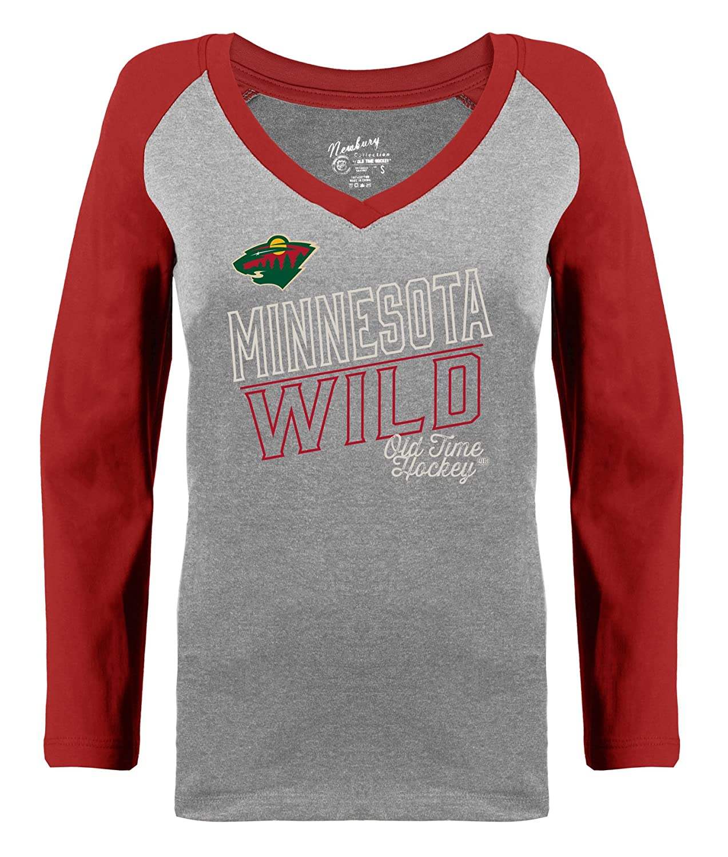 Amazon.com   Minnesota Wild Womens Grey Heathered Patricia V-Neck Long  Sleeve Raglan T-Shirt   Sports   Outdoors 40b606f0c1