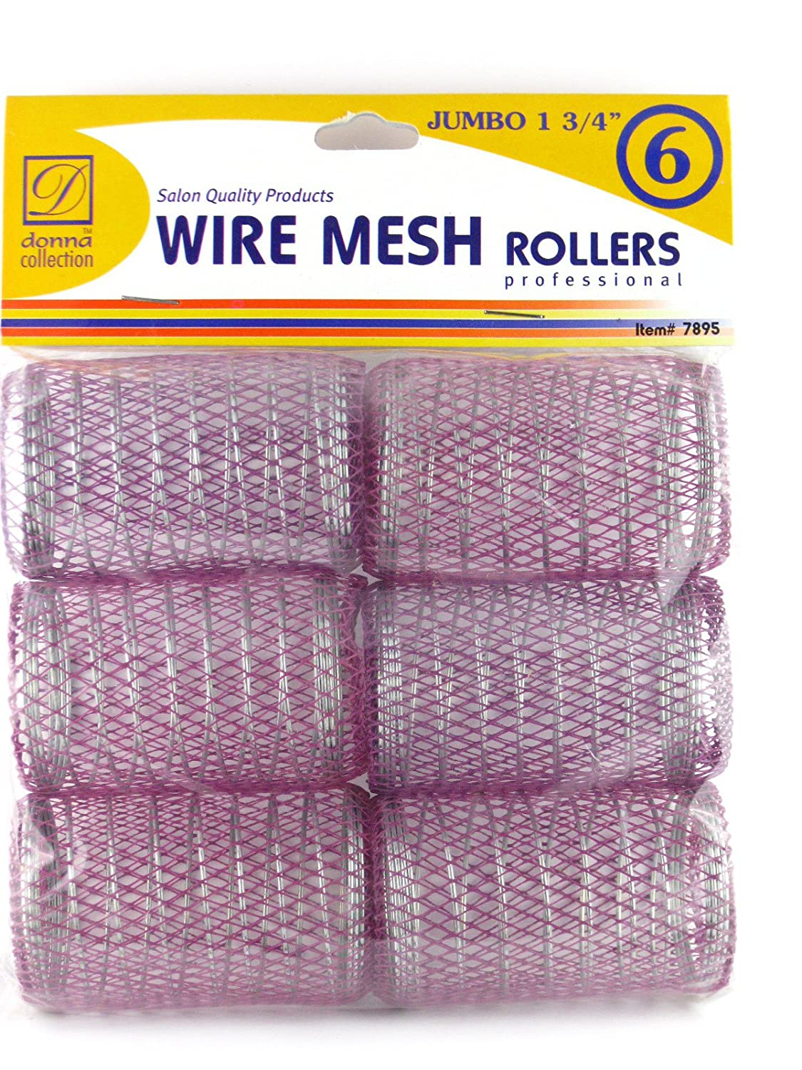 """Wholesale Donna 1-3/4"""" Jumbo Wire Mesh Hair Rollers - 6 Ct. for cheap"""