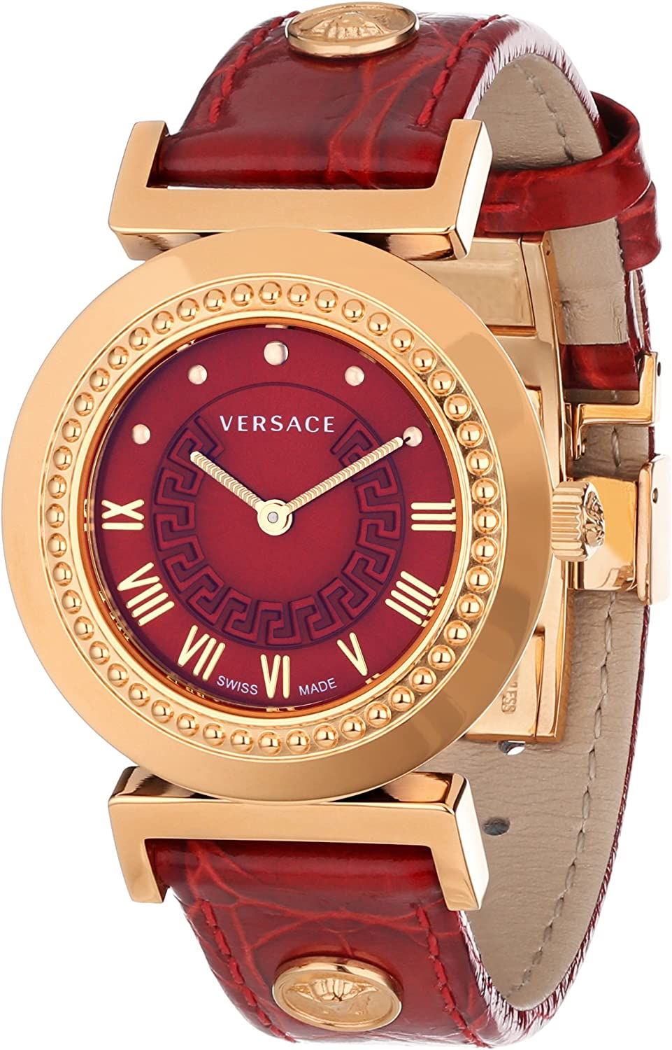 Versace Women s P5Q80D800 S800 Vanity Rose Gold Ion-Plated Stainless Steel Watch with Leather Band