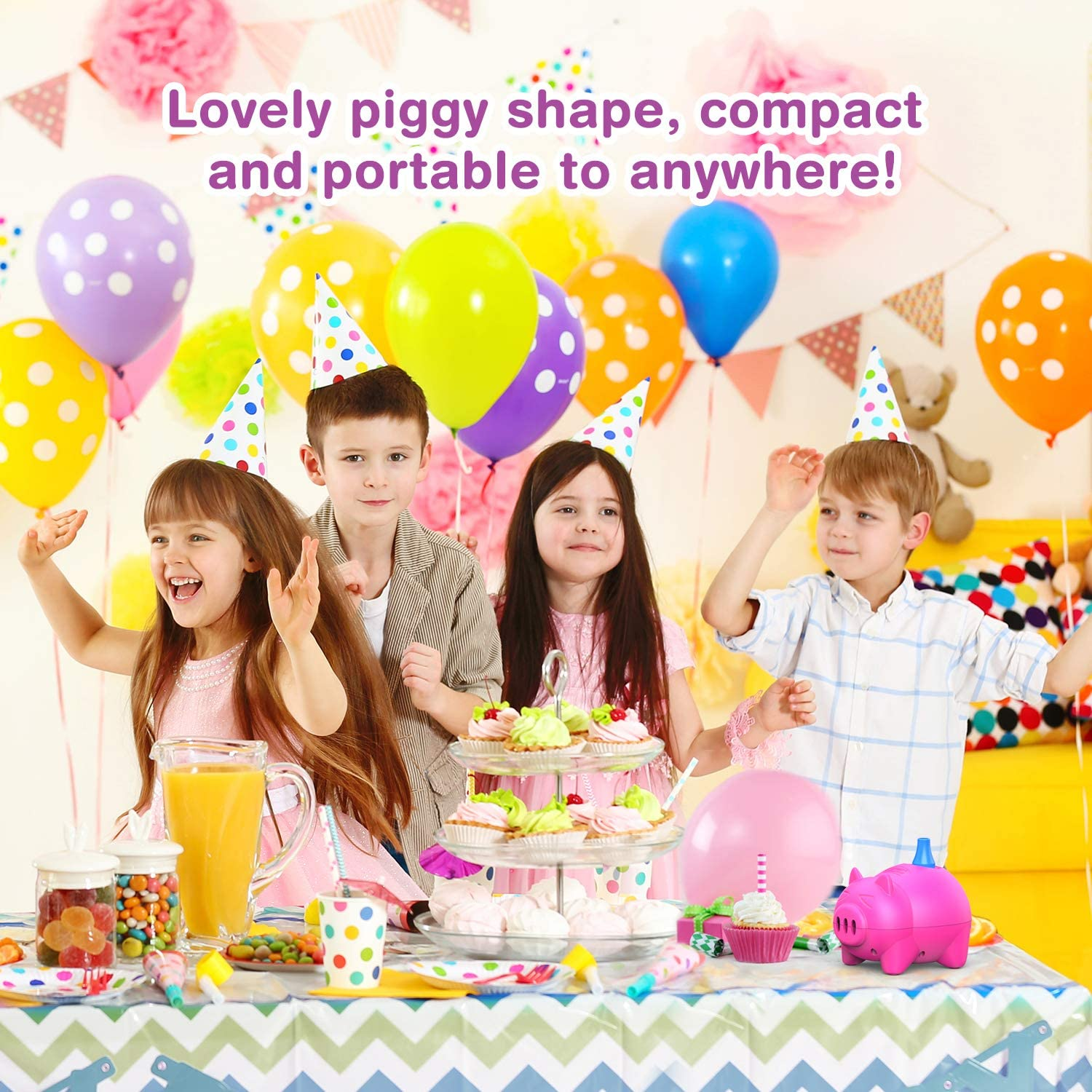 Birthday Dr.meter Electric Balloon Pump Promotional Activities and Festival Decoration Portable Piggy shape Balloon Inflator Air Blower for Christmas Decorations Wedding Party