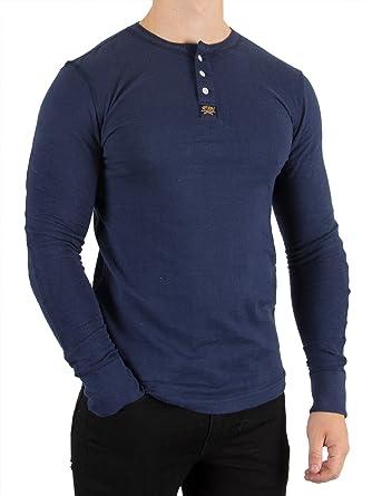 c5b3041d22 Superdry Men's Heritage Longsleeved Grandad T-Shirt, Blue, XX-Large ...
