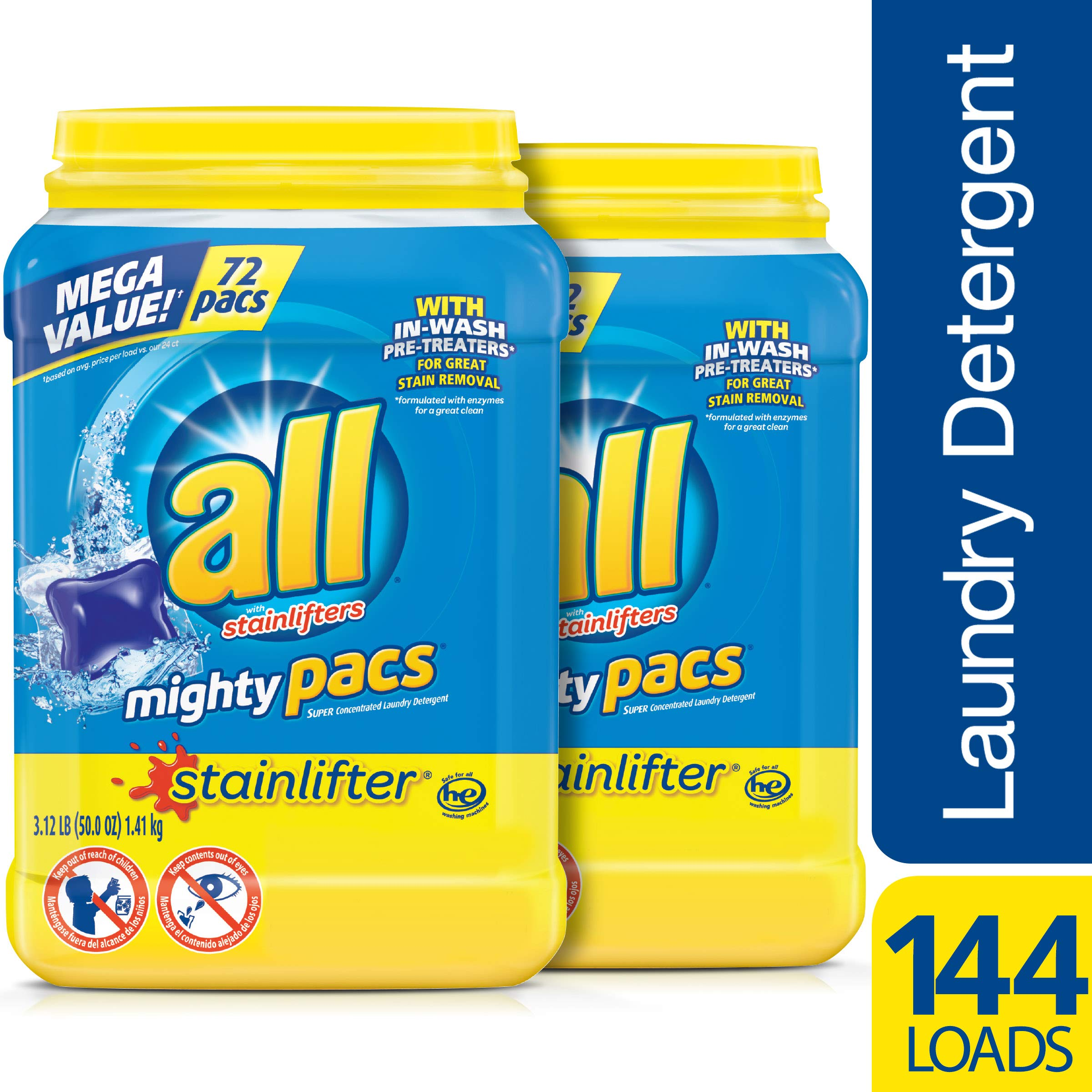 all Mighty Pacs Laundry Detergent, Stainlifter, 72 Count, 2 Tubs, 144 Total Loads by All (Image #3)