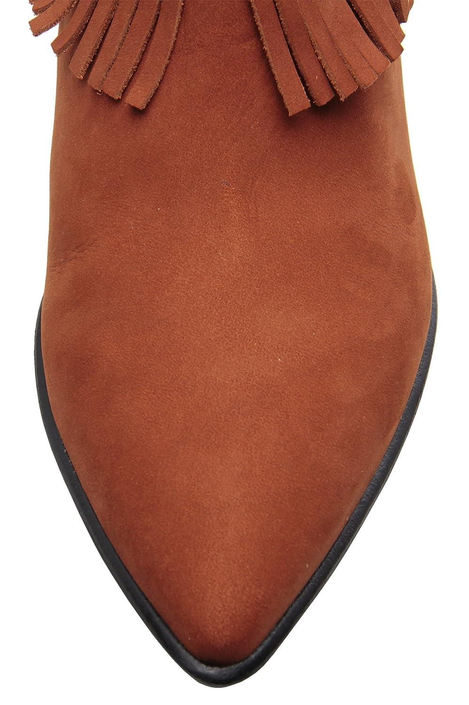 Carrano Myra Nubuck Leather Fringe Buckled Bootie B074ZP89ZY 7 B(M) US|Cinnamon