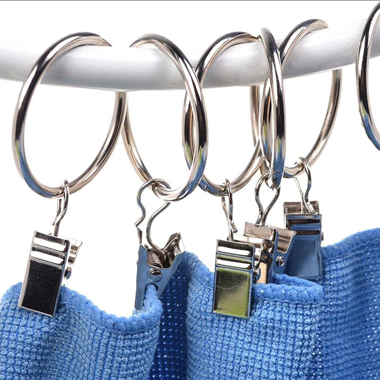 Ogrmar 24Pcs Nickel plating Metal Curtain Clip Rings 24