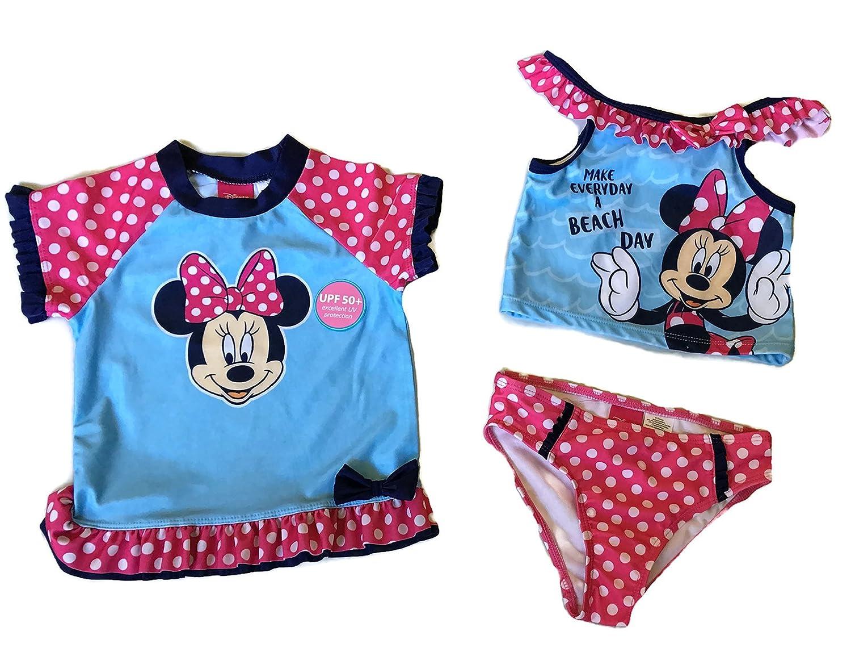 Disney Minnie Mouse Little Toddler Girls 3-Pcs Set, Swim Set Tankini and Rashguard, UVB 50+ UV Protection