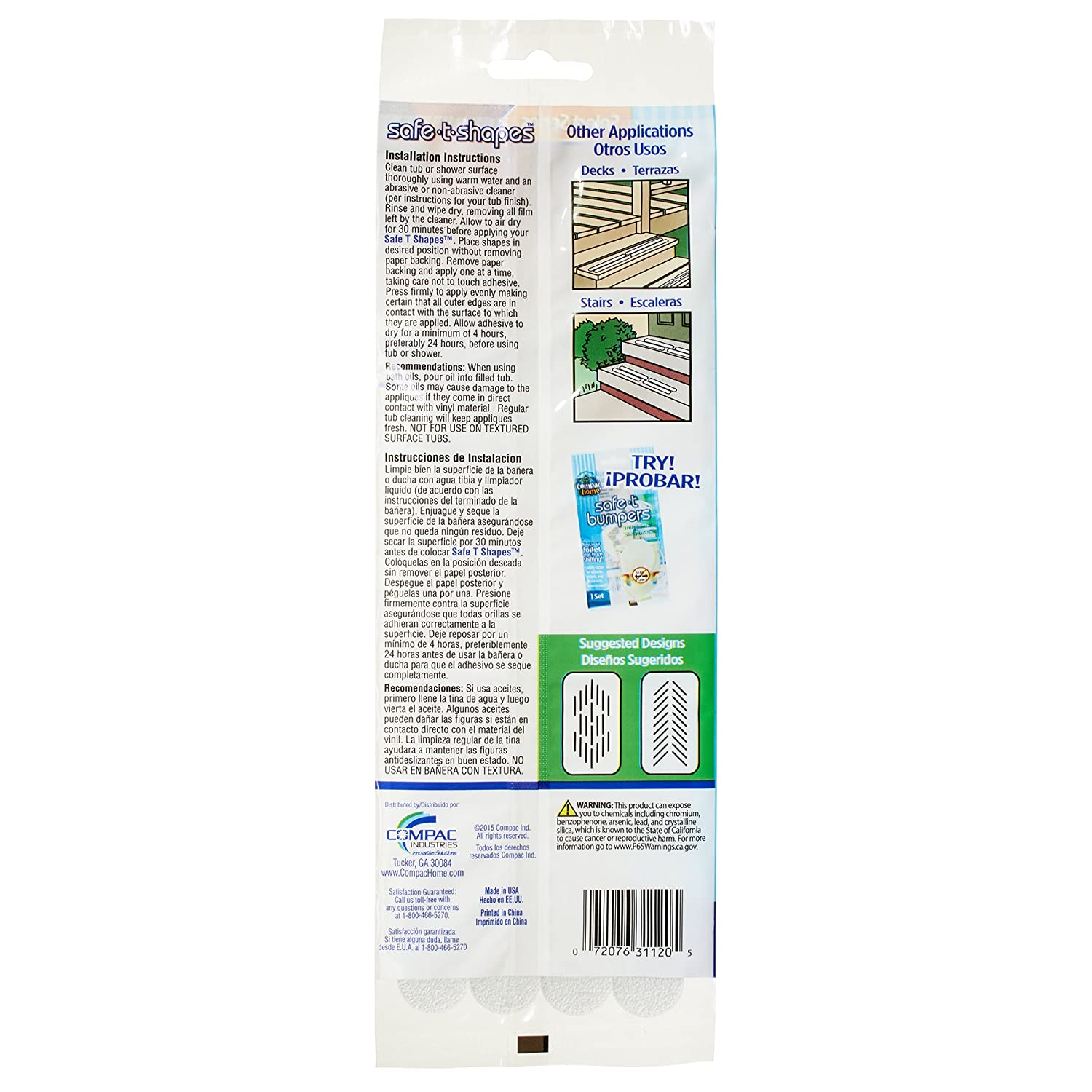 Compac Select Safe-T-Strips, Clear, 3/4 Inches X 8 5 Inches, 20 Count