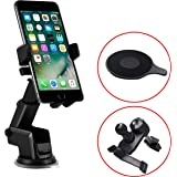 TERSELY Universal Mobile Phone Car Holder Mount, 360°Rotating Car Phone Cradle Holder Suction Windshield for Apple iPhone 11 Pro Max-Samsung S20 Ultra S10 Plus Note 10 [Extra Dashboard & Vent Clip]