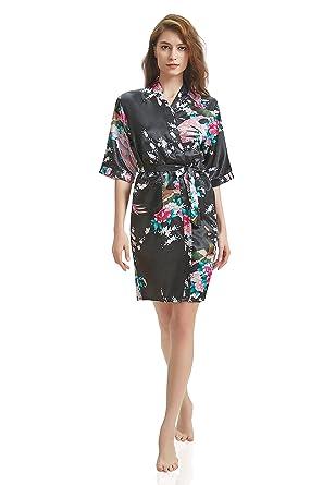 J.ROBE Women s Printing Lotus Kimono Robe Short Sleeve Silk Bridal Robe  Black S 8d2f3580a