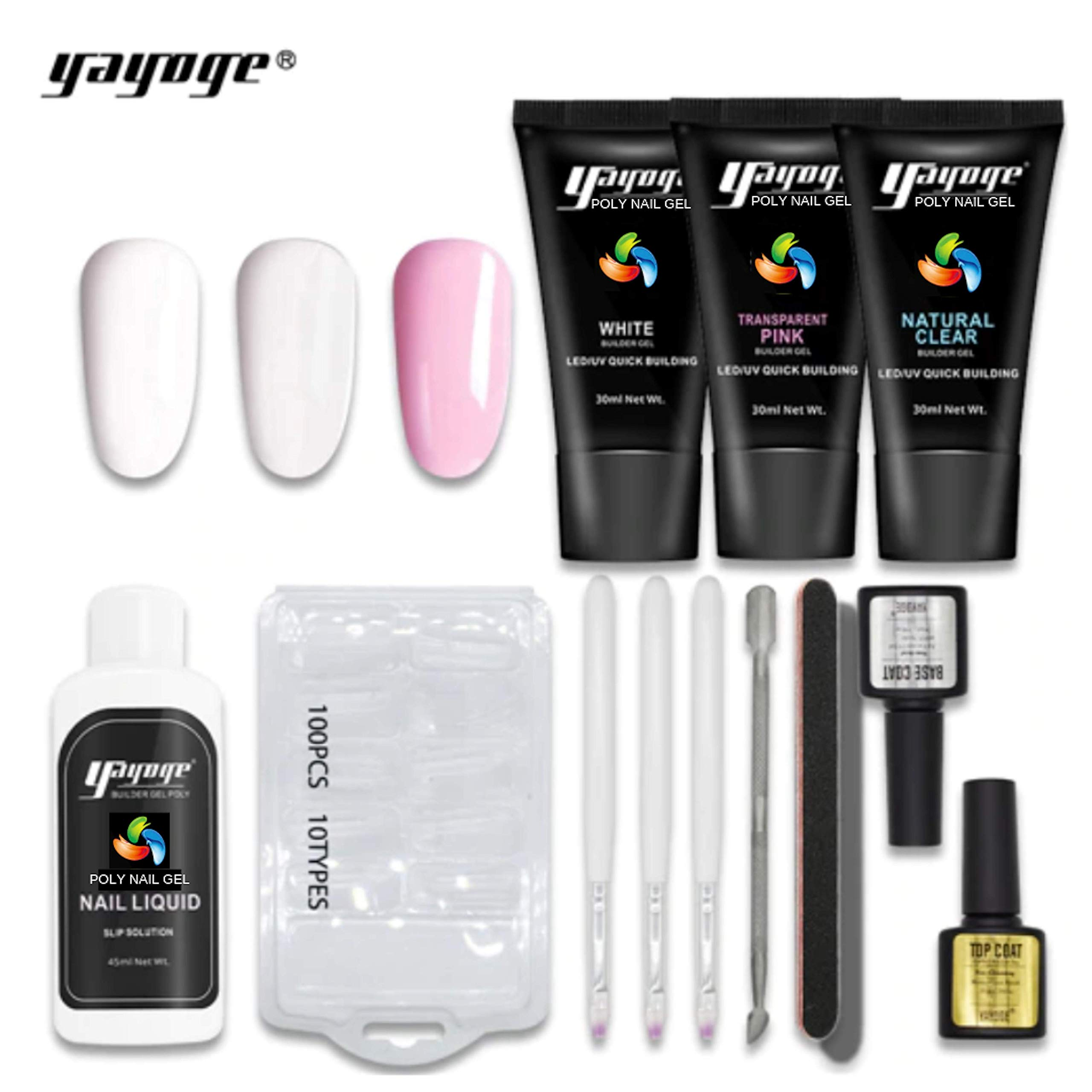 GenZ Poly Nail Gel Nail Extension 12 Pcs Complete Professional Nail Set Thickening Tool UV LED by GenZ