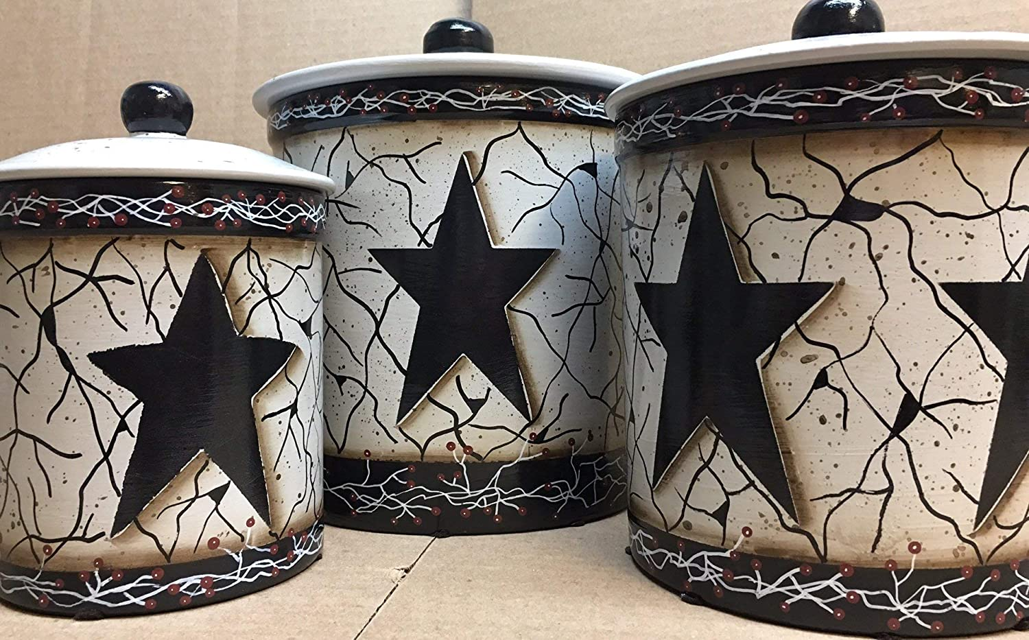 Primitive Country Decor Faux Crackled Black Star Italian Stoneware Canister Set of 3