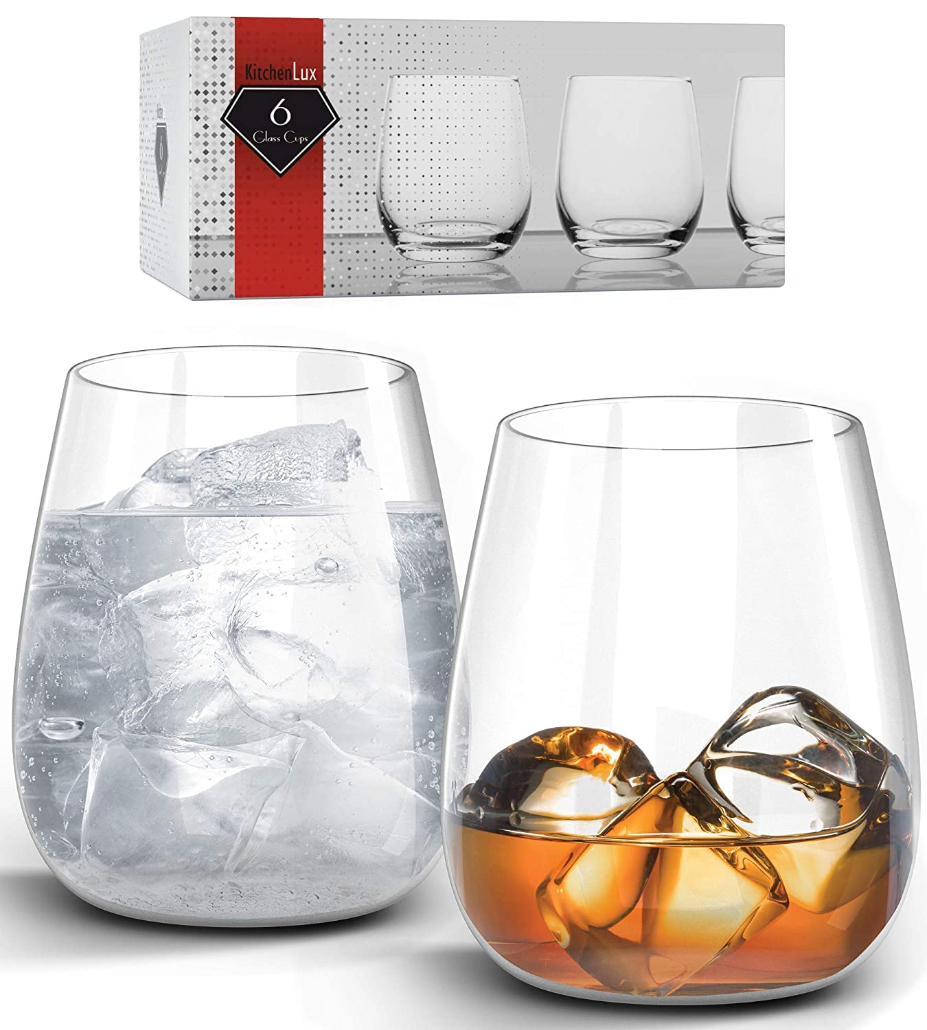 Dishwasher Safe Set of 6 Kitchen Lux 12oz Drinking Glass Tumbler Premium Clear Glasses For Wine Cocktails Shots Elegant Stemless Design Scotch and All Purpose Drinking Cups