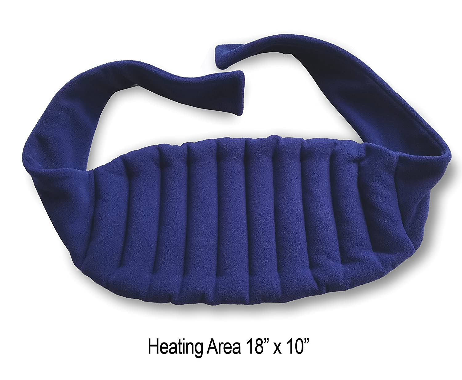 """Sunny Bay Lower Back and Shoulder Heat Wrap with Strap, 10""""x18"""" Heating Area, Microwave Hot/Cold Pad, Reusable, Portable, Navy Blue"""