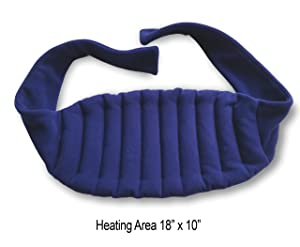 "Sunny Bay Lower Back and Shoulder Heat Wrap with Strap, 10""x18"" Heating Area, Microwave Hot/Cold Pad, Reusable, Portable, Navy Blue"