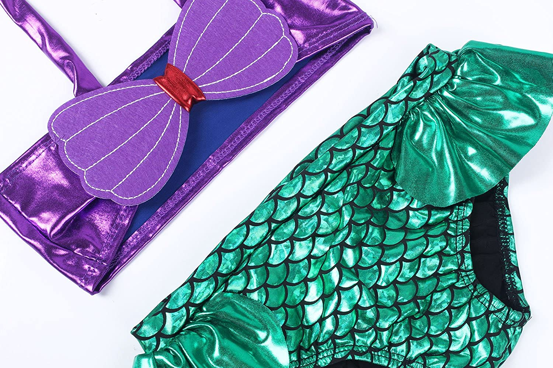 Uhnice Little Girls 3pcs Mermaid Bikini Swimwear Swimsuit Bathing Suit+Headband