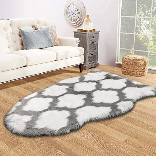 HEBE Faux Fur Rug Sheepskin Rug Runner 3 x 5 Ft Sheep Skin Chair Couch Cover White Irregular Area Rug