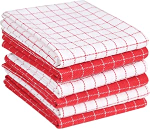 Ramanta Home Kitchen Dish Towels 6-Pack 16x26 Window Pane 100% Cotton Ultra Absorbent Quick Dry Professional Grade for Everyday Cooking and Baking - Charcoal