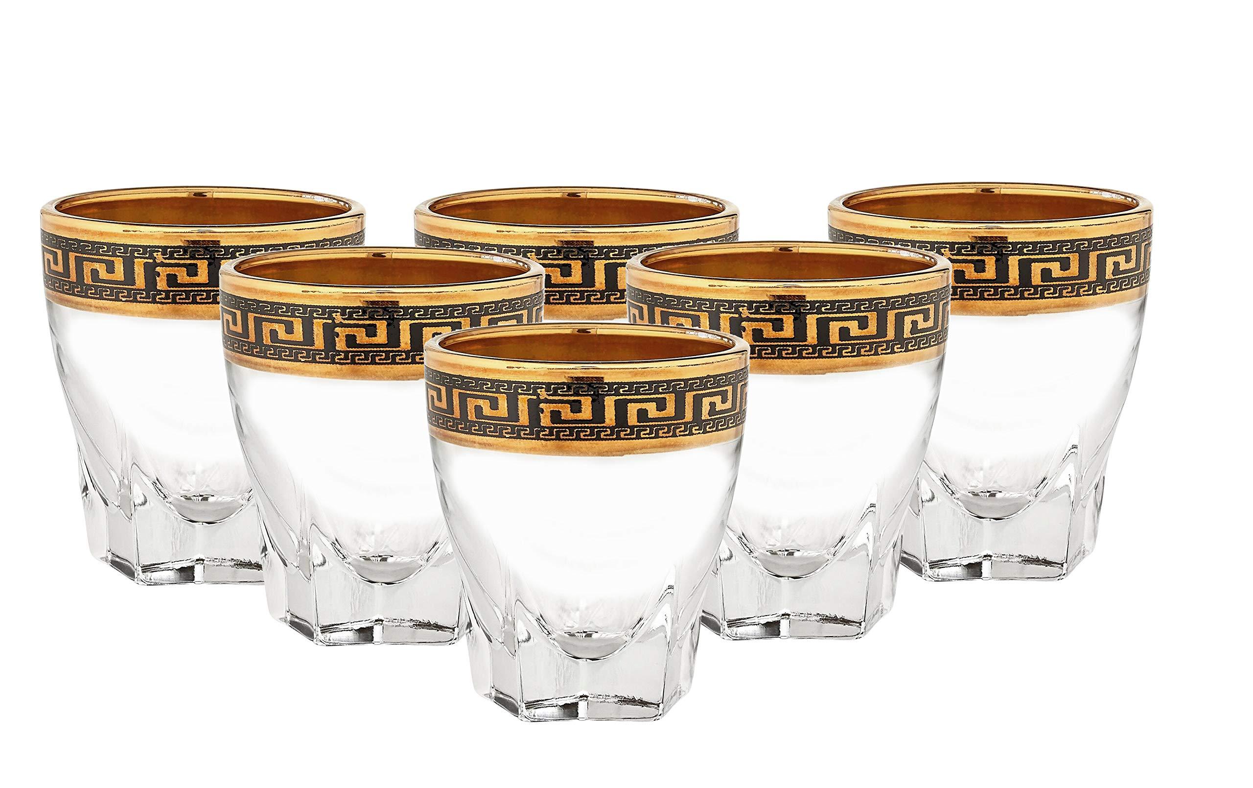 ''Cristalleria Italian Decor'' Crystal Shot Liquor Glasses Shooters, 2.5 oz. 24K Gold Rimmed Greek Key Ornament, Hand Made in Italy, SET OF 6