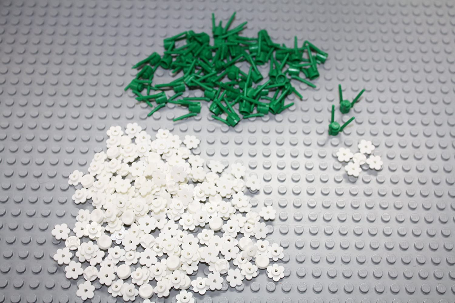 Lego Parts: 50 plant flower stems (3 flowers per stem) AND 152 white flowers - Loose