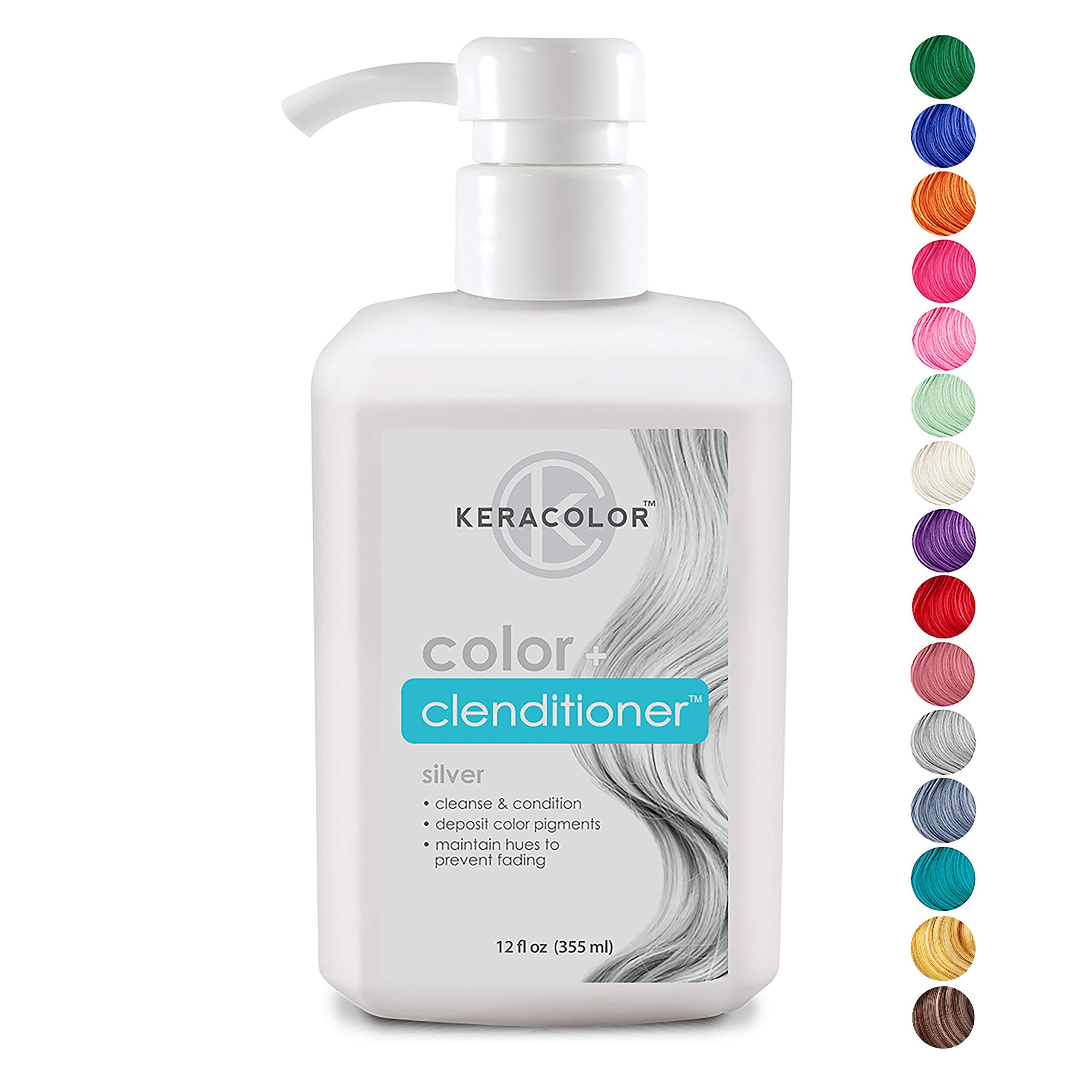 Keracolor Clenditioner Color Depositing Conditioner Colorwash, Silver, 12 fl oz by KERACOLOR