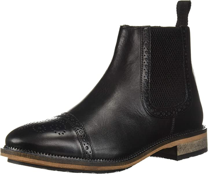 Steve Madden Mens DEADBOLT Chelsea Boot, Black Leather, ...