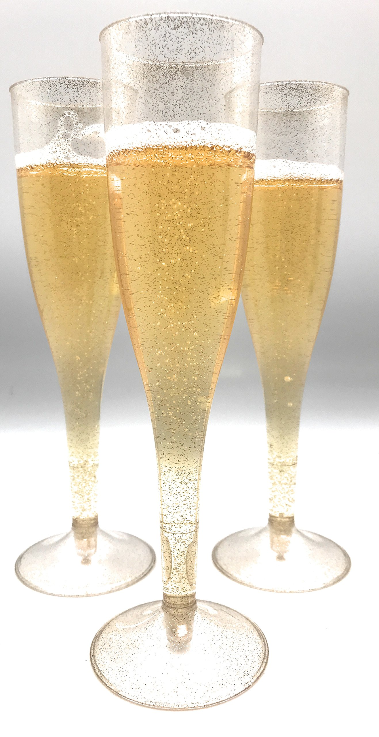 30pc Clear Plastic With Gold Glitter Classicware Glass Like Champagne Wedding Parties Toasting Flutes by Oojami (Image #5)